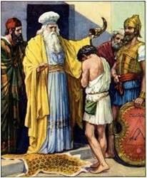 David ante el Sumo Sacerdote portando un zurrón